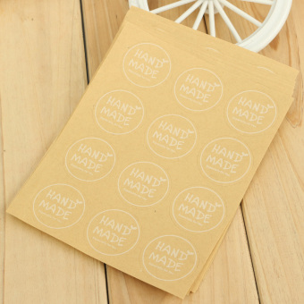 """Hand Made"" Craft Kraft Seal Sticker Label Cupcake Party Gift Bag Boxes Circle"