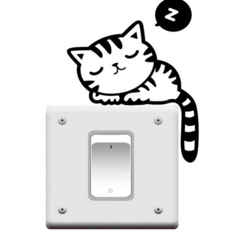 Harga Jetting Buy Funny Cat Nap Light Switch Wall Sticker - Black