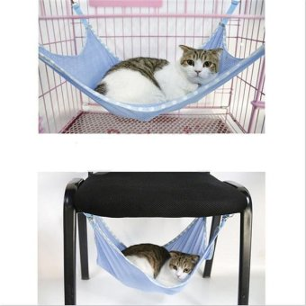 Hang-Qiao Pet Cat Mesh Hammock Cage Hanging Bed Blue - Intl - 2