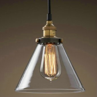Harga Glass Shade pendant lamp Meridian Transparent Edison Vintage Bulb Pendant Lamp RH style Clear Glass Funnel Filament Bulb Pendant Light C style