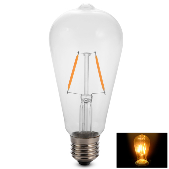Xcellent Global Set of 2 ST64 2W Dimmable Vintage Edison LED Filament Bulbs Lamps E27 Base 2300K 86-265V