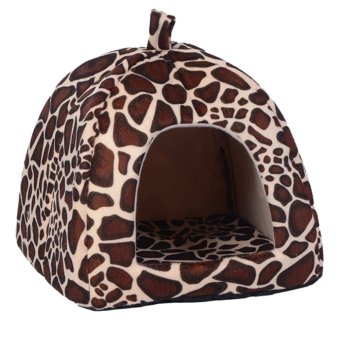 Harga Strawberry Pet Dog Cat Bed House Kennel Doggy Puppy Basket Pad(Leopard) (EXPORT)