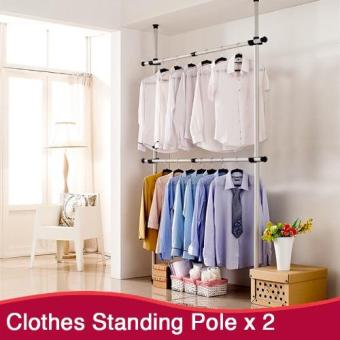 Harga 2 Tier Clothes Hanging Pole | Clothes Rack | Standing Pole | Clothes Hanger