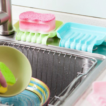 Sucker versatile kitchen shelving rack Drain colored plastic soap dish soap soap box aerobic-Blue - intl - 2