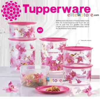 Harga TUPPERWARE Orchid Elegance One Touch 6in1 Set Kitchen Food Storage Airtight Stackable Life Warranty