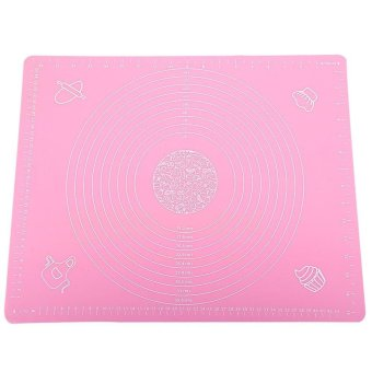 Pink 50*40cm Silicone Mat Baking Cake Dough Fondant Rolling Kneading Mat Baking Mat with Scale Cooking Plate Kitchen Tools - intl