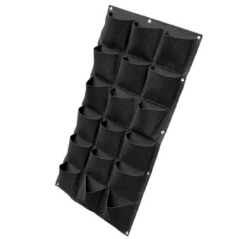 Harga Wall Mounted Hanging Vertical Planting Bags Green Grow Planter with 18 Pockets for Home Wall Balcony Garden Supply Black - intl