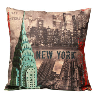 "Vintage Mixed Cloth New York City Linen Pillow Case Cushion Cover Home 18"" 45cm"