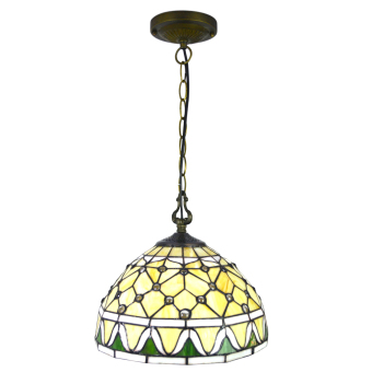 Harga Jewelry white CL12002 width 12inch high 39inch stained glass shade tiffany style pandent lamp metal chain - intl