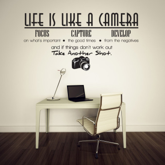 Harga Creative Life Is Like A Camera Quote Wall Stickers Decals Office Mural