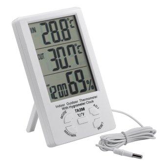 TA298 Indoor Outdoor Therometer w/ Hygrometer Clock - White - intl - 2