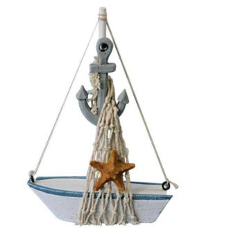 Harga BolehDeals Nautical Sailboat Mini Wooden Anchor Sailing Ship Table Dislpay Gift Deco #1 - intl