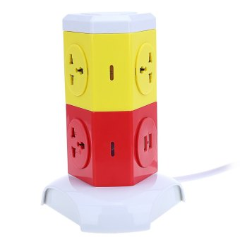 Harga Alardor ALD - 2W4K - L Multicolor 180 Degree Rotating Socket Intelligent Vertical Surge Protection Power Strip - UK PLUG - intl