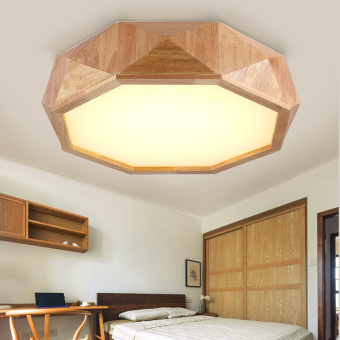 Harga Shifan LED Ceiling Light 32W 55CM (Warm Light) Geometry GY0660 Wooden Lamp Creative Fixtures