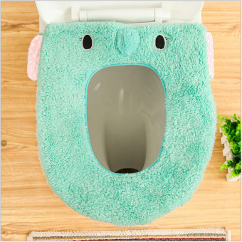 Harga cartoon toilet seat cover mats seat pad(Blue)