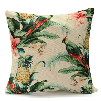 Tropical Leaves Chair Cushion Cover Home Room Decorative Sofa Throw Pillow Case - intl