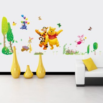 Harga Winnie the pooh cartoon children's room wall stickers living room sofa bedroom tv background wallpaper wallpaper wall stickers decorative stickers