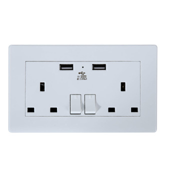 Harga Double USB Australian UK Plug Wall Socket Home Power Point Supply Plate