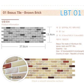 [Korea Authentic] ★Beaus Tile ★ selfadhesive tile wallsticker wallpaper Decoration living furniture--LBT1-Brown Brick - 2