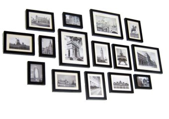 Harga Homeloo Photo Picture Wood Frame Set of 15 (Black)(Export)