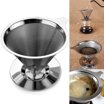 Harga Stainless Steel Pour Over Cone Coffee Dripper Double Layer Mesh Filter Paperless Home Kitchen Coffee Shop Coffee Brewing Helper - intl