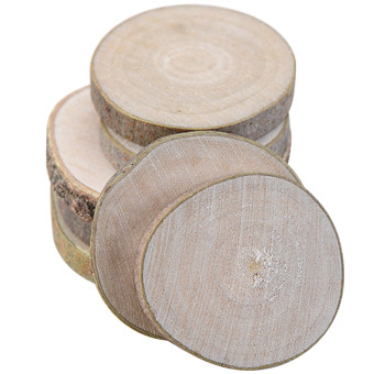 Harga 20 PCS Mini Assorted Size Natural Color Tree Bark Wood Log Slices Round Disc Slice for Arts Crafts Home Decoration