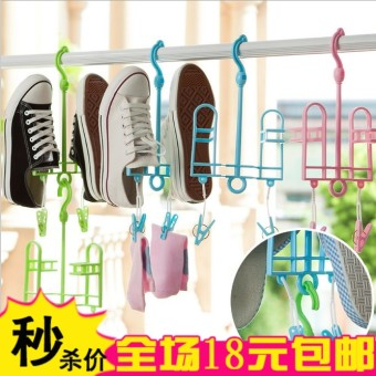 Harga Multifunctional movable wind slip can be connected to the hook hanging shoe rack drying shoe rack hanging shoe rack
