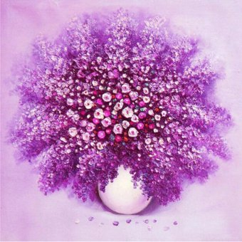 Harga Oly LA178-1 lavender 40x40cm Round diy diamond drawing animal diamond painting cross stitch crystal round diamond sets decorative full diamond embroidery - intl