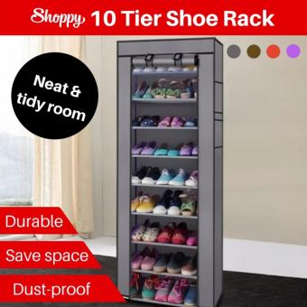 Harga Shoppy 10 level Shoes Organizer Wardrobe Rack (Classic Grey)