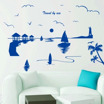 Harga Mediterranean seascape beach sea building room decoration sofa background wall wallpaper adhesive wall paper wall sticker
