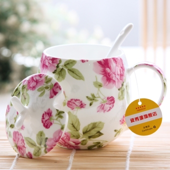 Harga Cute bone china mug with lid & spoon