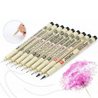 Harga 8x Pigma Manga Comic Graphic Markers Drawing Fine Point Ink Pens Brush Kit Beige - intl