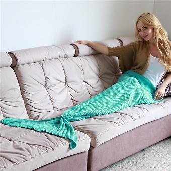 Harga LALANG Adult Knitted Mermaid Tail Blanket Crochet Sofa Bed Sleeping Bag Gift 180X90cm 1# (Mint Green)