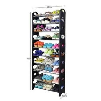 10-tier Stackable Shoe Rack with Plastic Side Panels - 2