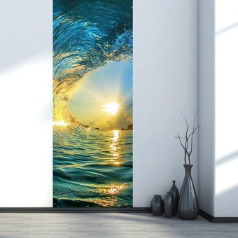 Harga 3D Door Decoration Removable Vinyl Sticker - Ocean Wave Pattern - intl