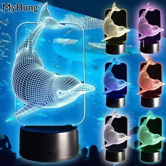 Harga Kids Gifts New Naughty 3D Dolphin Design LED Table Lamp Touch Remote Table Light USB 7 Color Changing Atmosphere Lamps Colorful Kids Gifts - intl