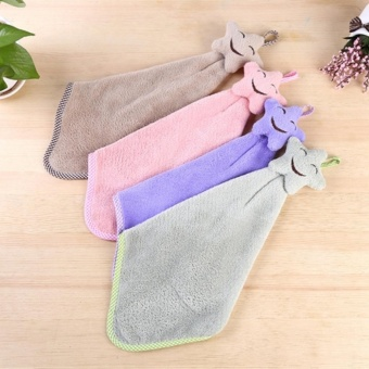 Harga 4Pcs Hand Towels Smile Kitchen Shower Room Hanging Coral Fleece 42*22cm (random color) - intl