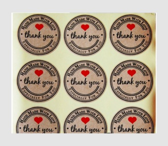 "Harga ""Thank you"" Cute craft paper Packaging Seals Labels Gift Sticker Favours Toppers 120pcs - intl"