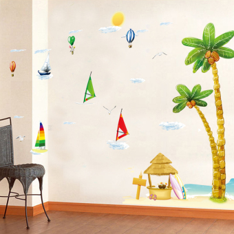 Harga Style beach bedroom living room Children's room decorative wall stickers