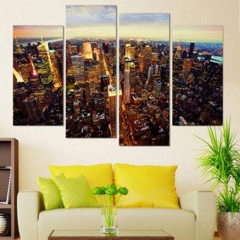 New York City Building Modern Oil Painting Unframed Wall Pictures for Living Room 4 Panel Canvas Art Home Decoration (EXPORT)