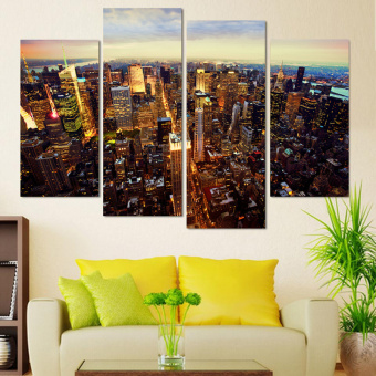 New York City Building Modern Canvas Painting Unframed Wall Pictures for Living Room 4 Panel Canvas Art Home Decoration modern - Intl
