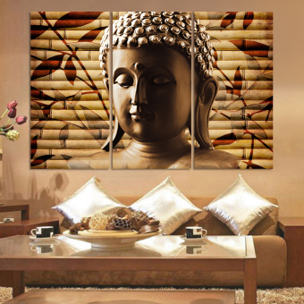 Harga Luxury 3pieces classical buddha painting solemn Buddhism wall canvas art asian Religion ancient picture no frame