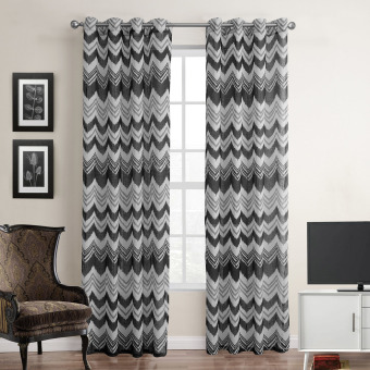 Harga Wave stripe printed fabric polyester window curtain 140X220CM