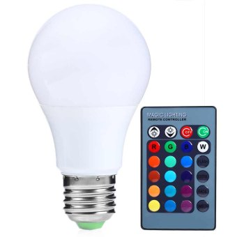 15W 85-265V 150LM RGB E27 LED Dimmable Bulb Remote Control(White)