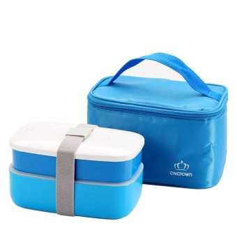 Japanese Bento Lunch Box with Insulated Thermal Lunch Tote Bag Food Container Lunchbox Plastic Microwave BPA Free Blue