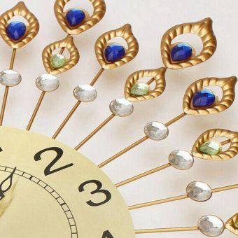 European Peacock Diamante Mute Wall Clock Quartz Clock 54*54 cm - 2