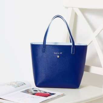 Harga Japanese magazine article blue WATERPROOF lunch bag lunch bag lunch bag PORTABLE leather HANDBAGS B4052