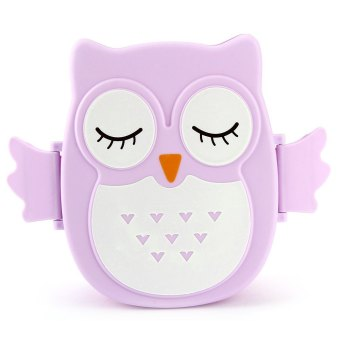 Harga Cartoon Owl Lunch Box Food Container Storage Bento Microwave for Children Kids (Purple)
