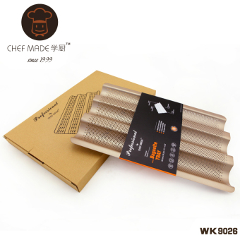 Harga Chefmade school kitchen baking mold heavy steel large gold/bbq grill non stick french bread sticks