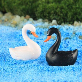 Harga 2 PCS Black White Swan Figurine Miniature Garden Micro Landscape Fairy Garden Ornaments Resin Craft - Int'L